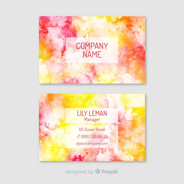 Colorful watercolor business card template Free Vector