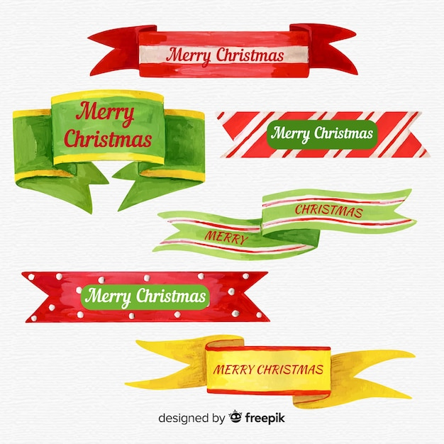 Colorful watercolor christmas ribbon collection Free Vector
