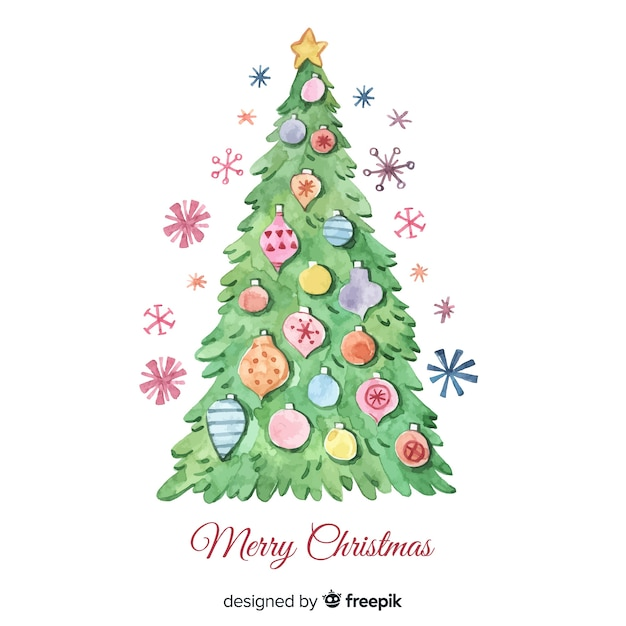 Colorful Christmas Tree Vector.Colorful Watercolor Christmas Tree Vector Free Download