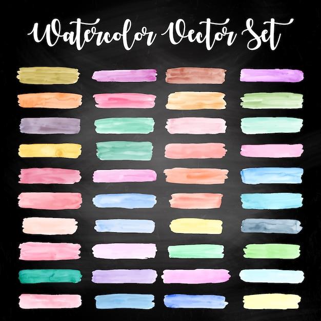 Colorful watercolor design set free vector Premium Vector