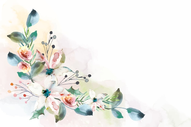 Colorful watercolor floral background Premium Vector