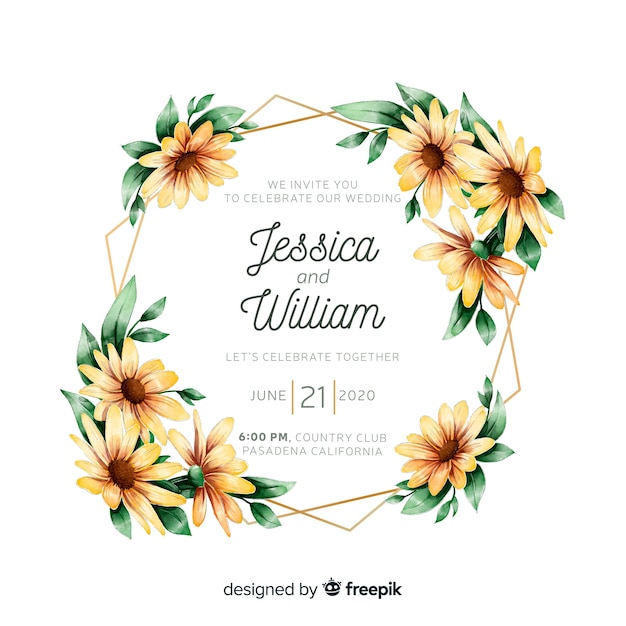 Colorful watercolor floral frame wedding invitation Free Vector