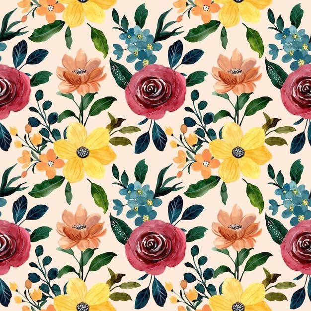 Красочная акварель цветочный фон Premium векторы