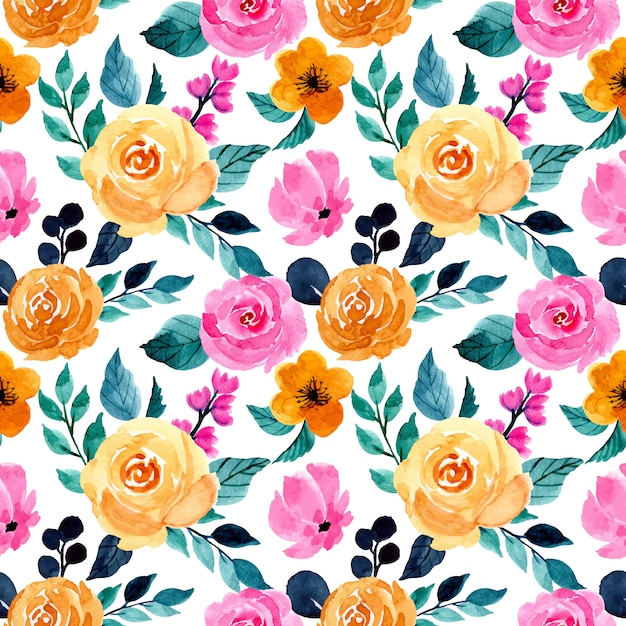 Colorful watercolor floral seamless pattern Premium Vector