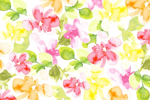 Colorful watercolor flowers background Free Vector