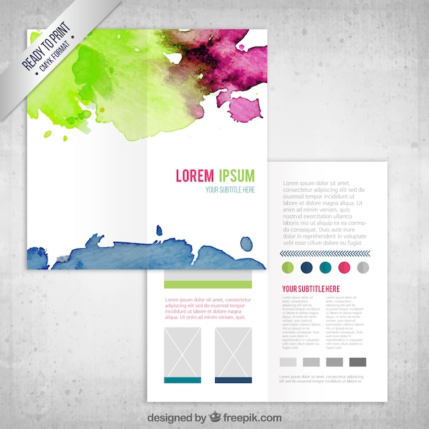 Colorful Watercolor Flyer Template Vector
