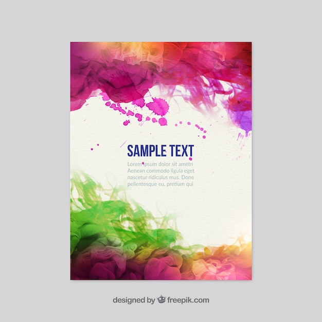 colorful watercolor flyer vector
