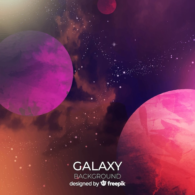 Colorful watercolor galaxy background Free Vector