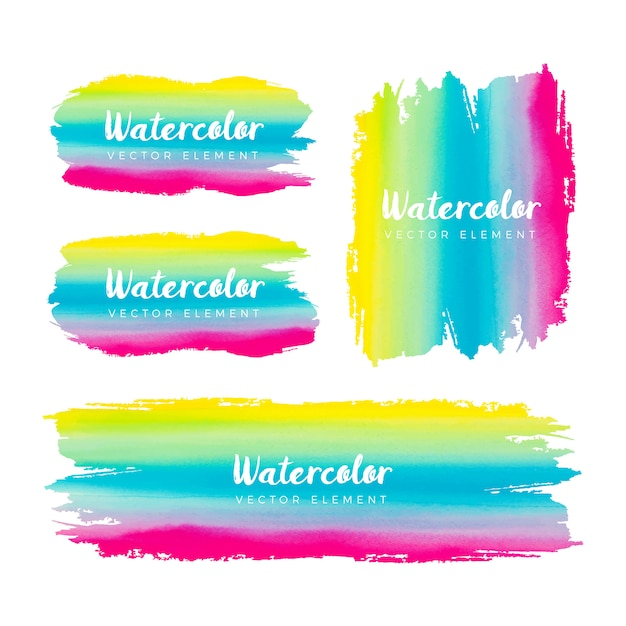 Colorful watercolor grunge brush frame collection Free Vector