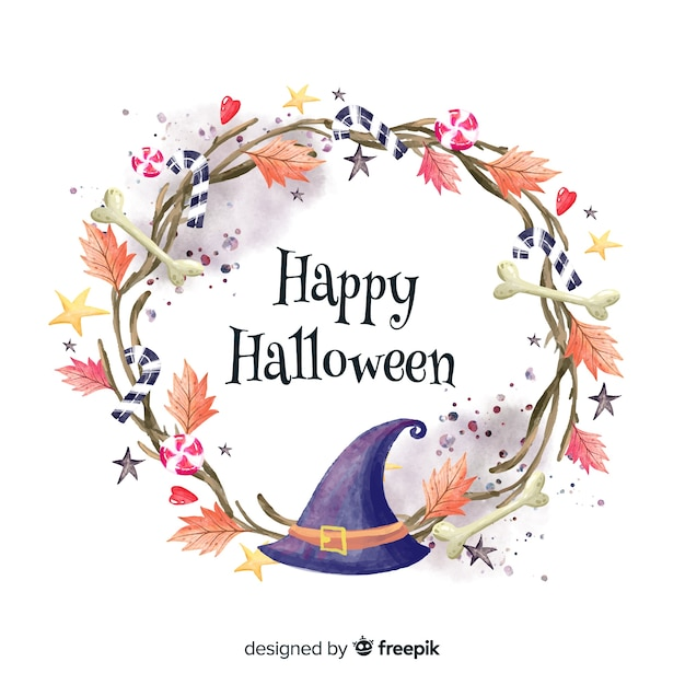 Colorful watercolor halloween background with witch hat Free Vector