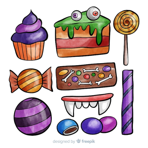 Colorful watercolor halloween candy collection Free Vector