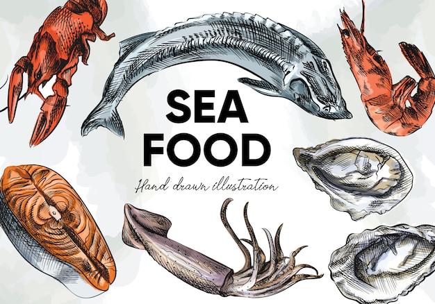カラフルな水彩手描きの海の食べ物のスケッチセット。セットには、カニ、エビ、ロブスター、ザリガニ、オキアミ、ロブスターまたはイセエビ、ムール貝、カキ、ホタテが含まれます Premiumベクター