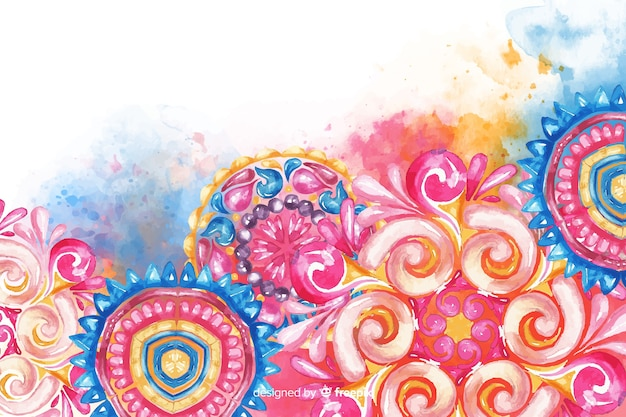 Colorful watercolor ornamental flower background Free Vector