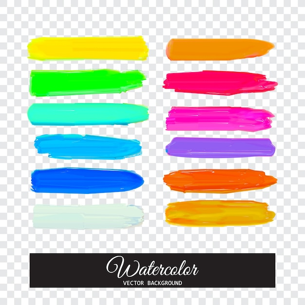 Colorful Watercolor Paint Stripes Rainbow Brush Strokes