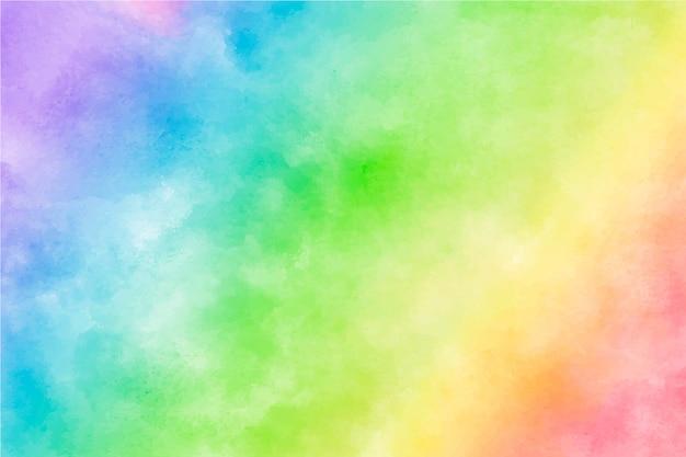 カラフルな水彩虹の背景 無料ベクター