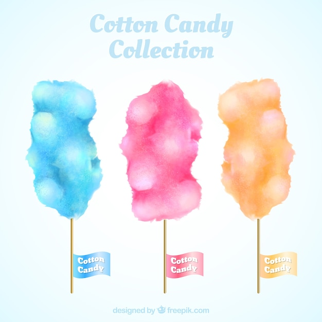 Colorful watercolor set of cotton cnady