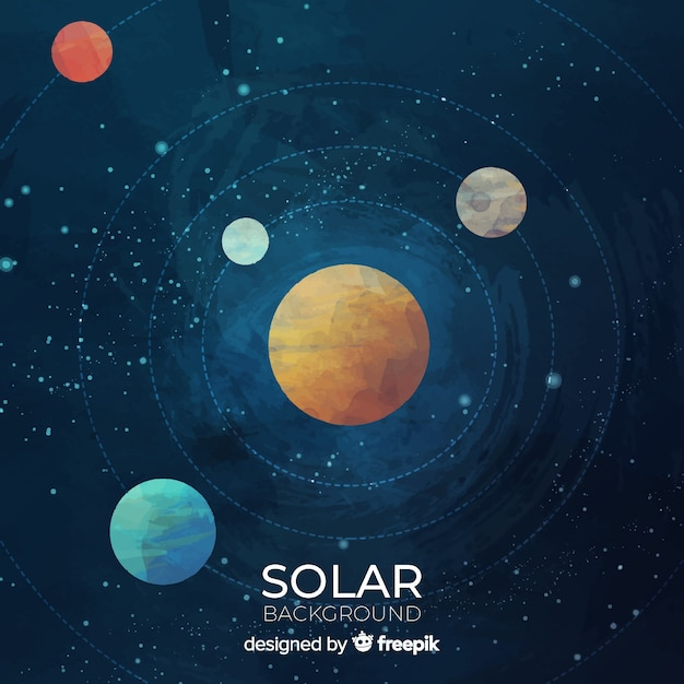 Colorful watercolor solar system scheme Free Vector