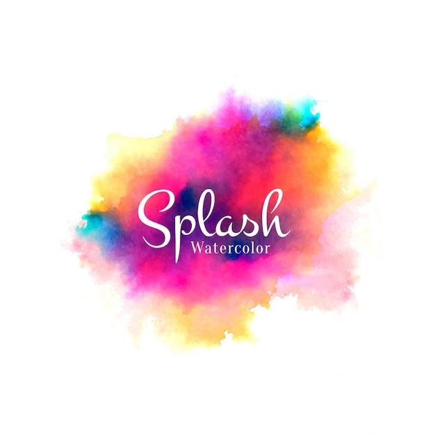 Colorful watercolor splash hand drawn design Free Vector