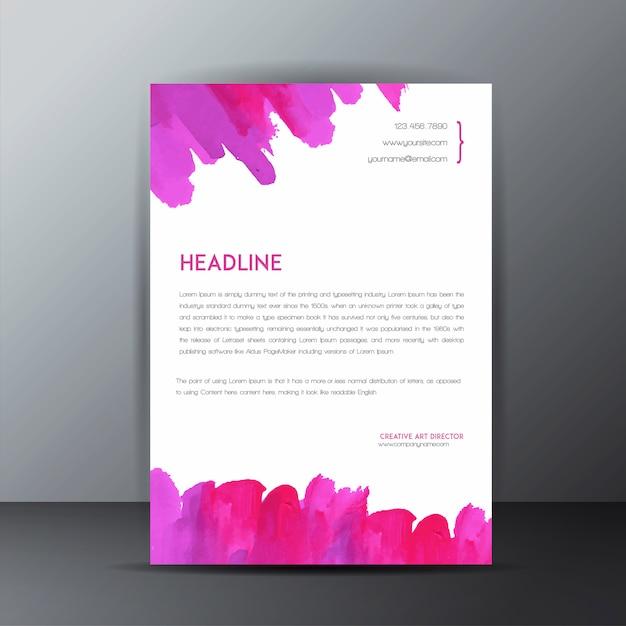 Colorful watercolor splatter letterhead template Free Vector