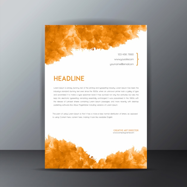 Colorful watercolor splatter letterhead template Free Vector