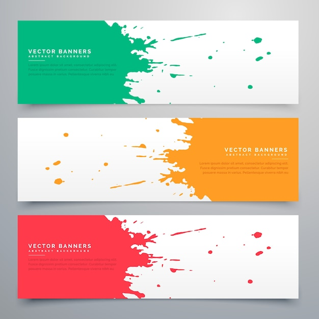 Colorful watercolor stain banners Free Vector