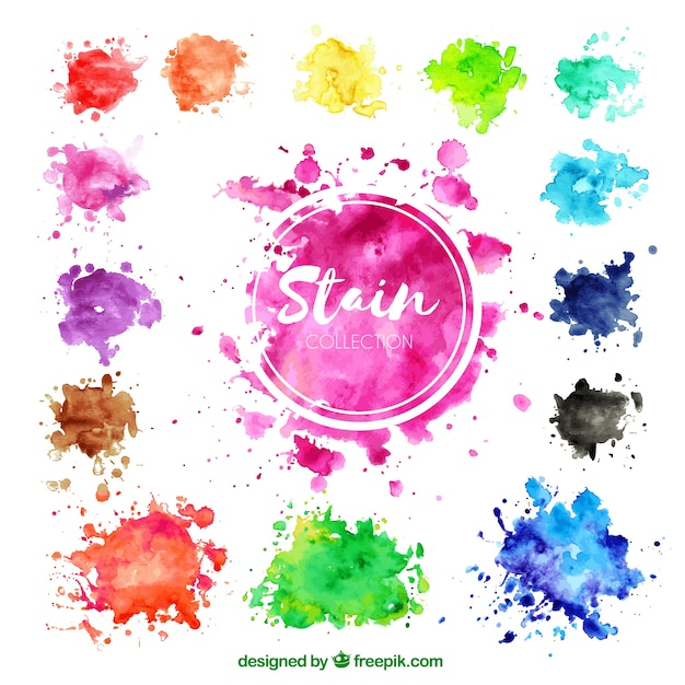Colorful watercolor stain collection Free Vector