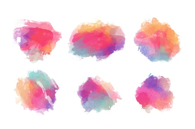 Colorful watercolor stains set Free Vector