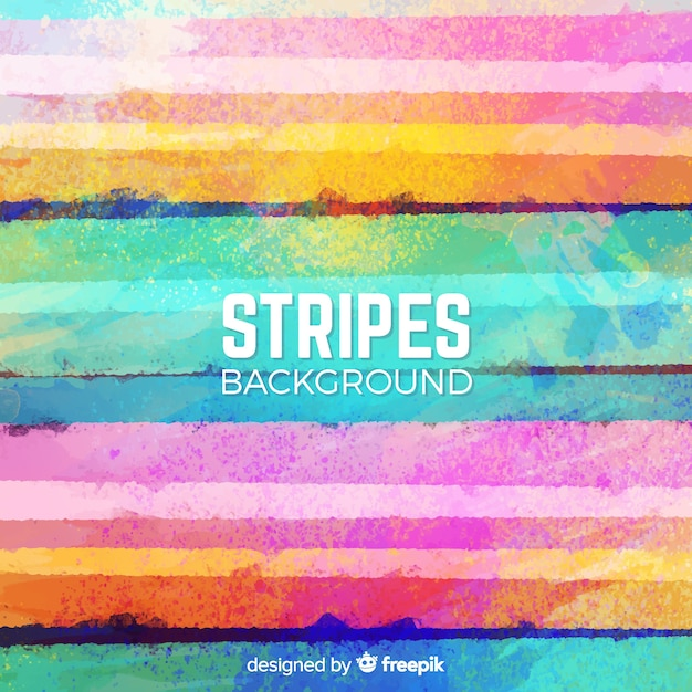 Colorful watercolor stripe background Free Vector
