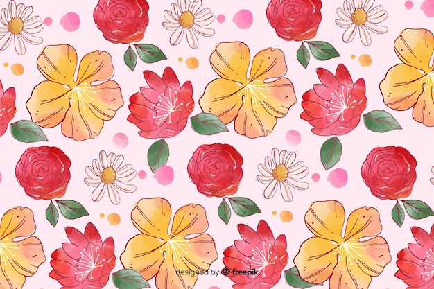 Colorful watercolor style floral background Free Vector