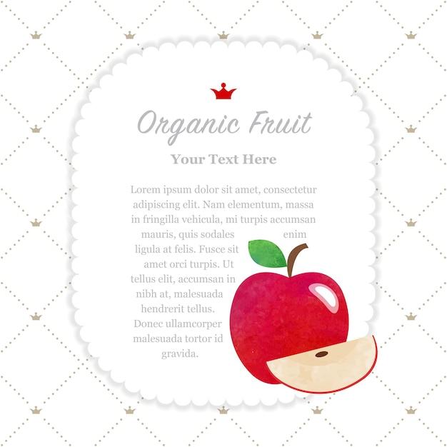 カラフルな水彩テクスチャ自然有機フルーツメモフレーム赤いリンゴ Premiumベクター