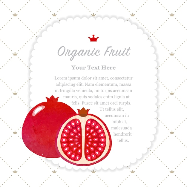 カラフルな水彩テクスチャ自然有機フルーツメモフレーム赤いザクロ Premiumベクター