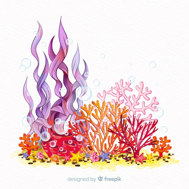 Colorful watercolor underwater coral background Free Vector