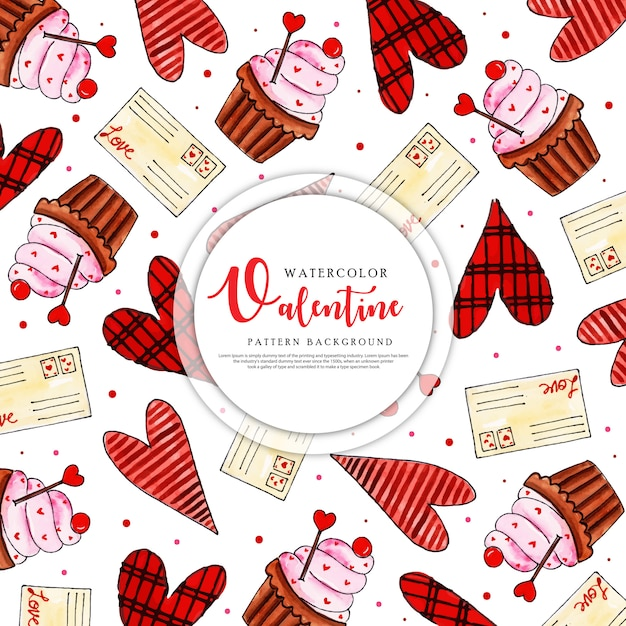 Colorful watercolor valentine pattern background Premium Vector