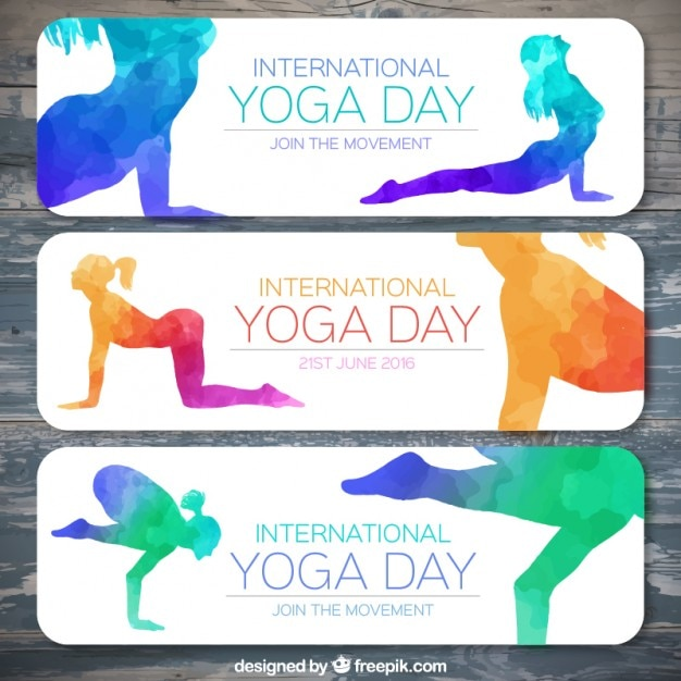 Colorful watercolor yoga silhouettes\ banners