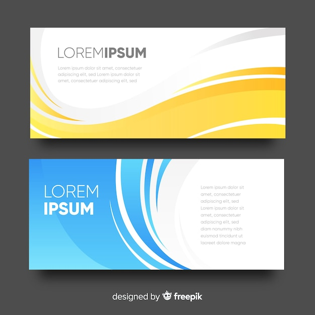 Colorful wave banner template Free Vector
