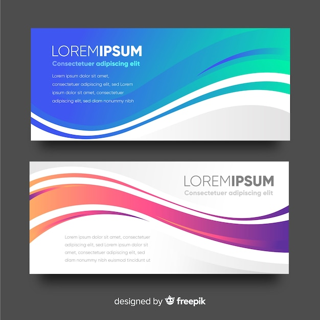 Colorful wave banner template Premium Vector