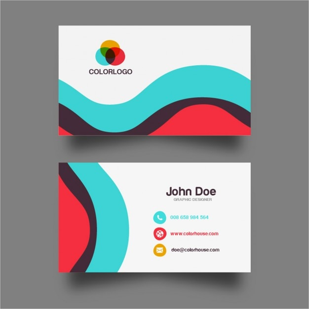 Colorful wave business card design vector free download colorful wave business card design free vector reheart Images