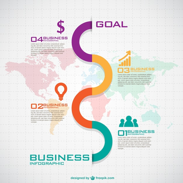 Colorful wave in a business infographic Free Vector