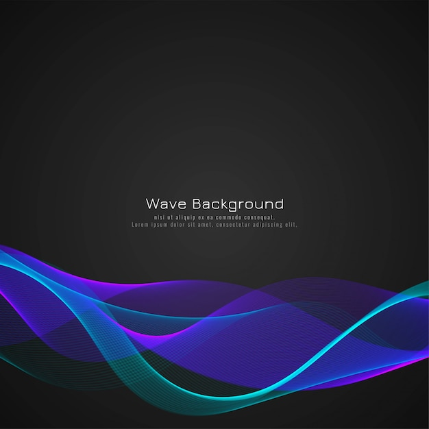 Colorful wave dark background design Free Vector