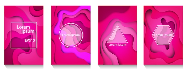 Colorful wave and fluid shapes pink background Premium Vector