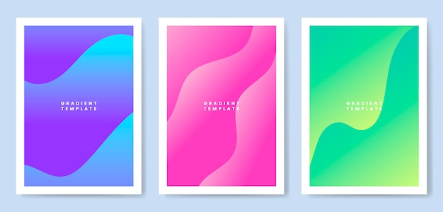 Colorful wave gradient template design Free Vector