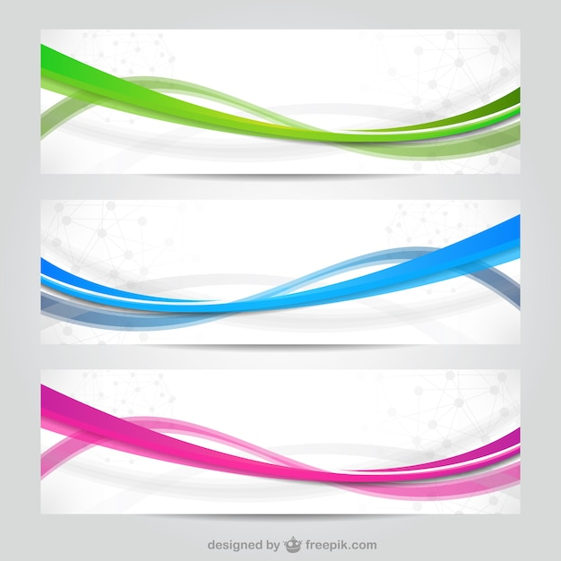 Colorful waves banners Free Vector