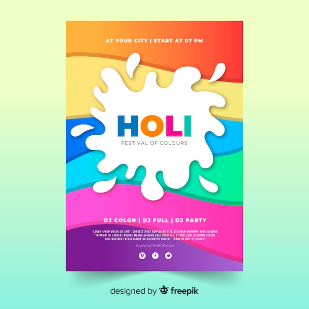 Colorful waves holi festival party poster Free Vector