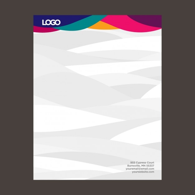Colorful waves letterhead vector free download Online vector editor