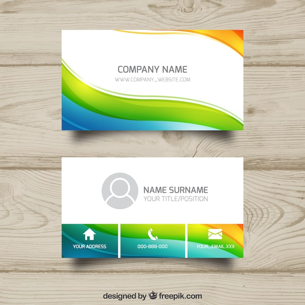 Colorful wavy business card Free Vector