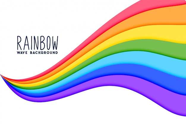 Colorful wavy rainbow flow background Free Vector