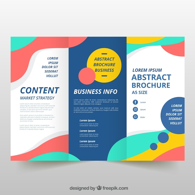 Colorful wavy trifold business flyer Free Vector