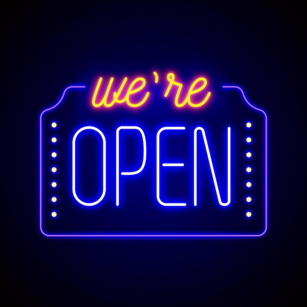 Colorful 'we are open' neon sign Free Vector