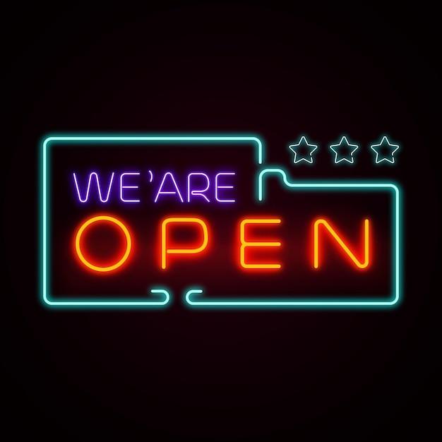 カラフルな「私たちは開いています」ネオンサイン 無料ベクター
