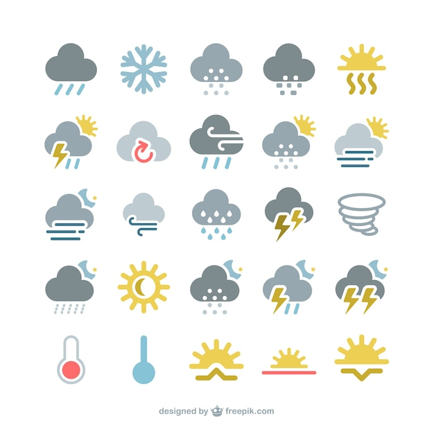 Colorful weather icons pack Premium Vector